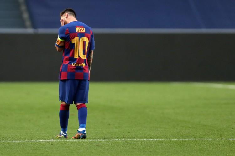 Lisboa em 14 de agosto de 2020, O atacante Lionel Messi do Barcelona, na derrota  para o Bayern Munich durante as quartas de finais da UEFA Champions League, no estadio da Luz em Lisboa. (Foto Manu Fernandez / POOL / AFP) (Foto: Manu Fernandez / AFP)