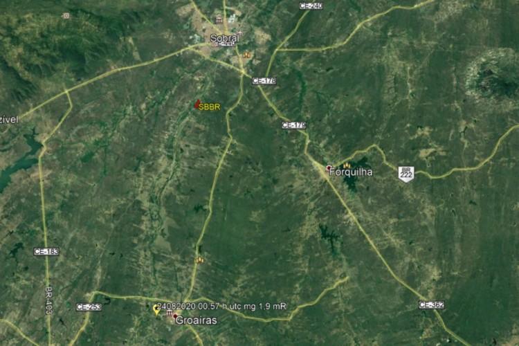 Mapa de onde aconteceu o tremor de terra (Foto: Divulgação/LABSIS)