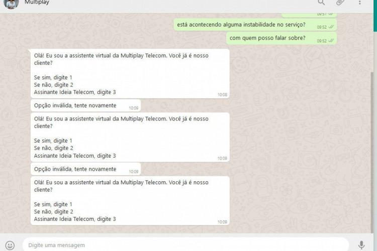A instabilidade segue com problemas também no atendimento via WhatsApp (Foto: Reprodução/WhatsApp)