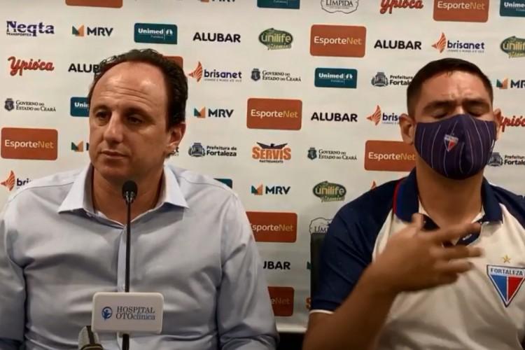 Técnico Rogério Ceni após a vitória de 3 a 0 do Fortaleza sobre o Bragantino pela Série A (Foto: Reprodução/TV Leão)