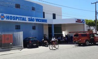 Hospital São Vicente, de Iguatu, teve princípio de incêndio após queda de energia. Foto: Asscom/Corpo de Bombeiros Militar