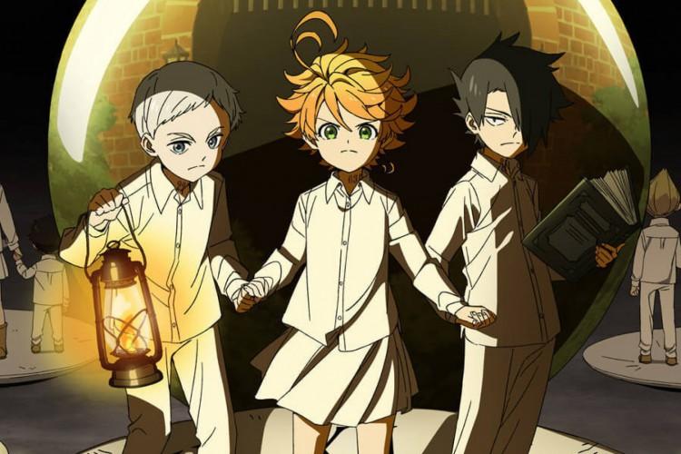 O anime acompanha os órfãos Emma, Norman e Ray em busca de fugir do perigo iminente de serem devorados por monstros (Foto: divulgação)