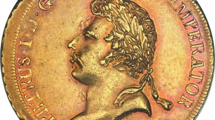 Moeda de 6.400 réis comemorativa da coroação de Pedro I como o imperador do Brasil