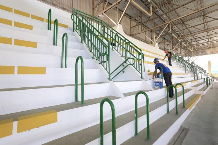 Ginásio Aécio de Borba está com obras 80% concluídas (Foto: Divulgação/ Prefeitura de Fortaleza)