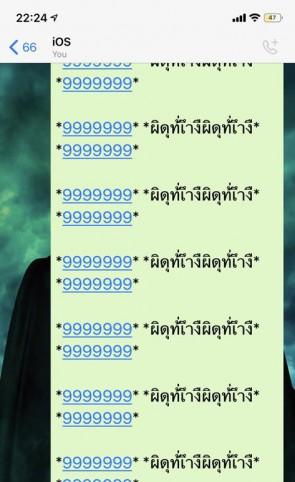 Mensagens com longos caracteres sem sentido são enviadas através do aplicativo (Foto: Reprodução/Twitter)