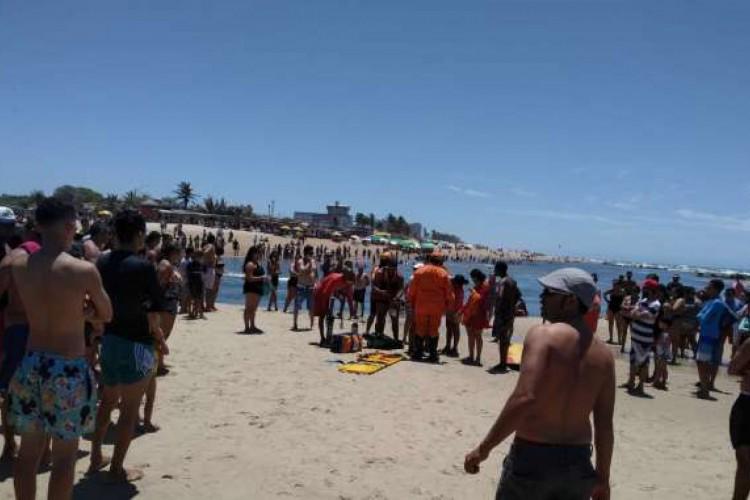 Praia do Futuro é a região que mais registrou ocorrências de afogamento (Foto: Reprodução/ CBMCE)