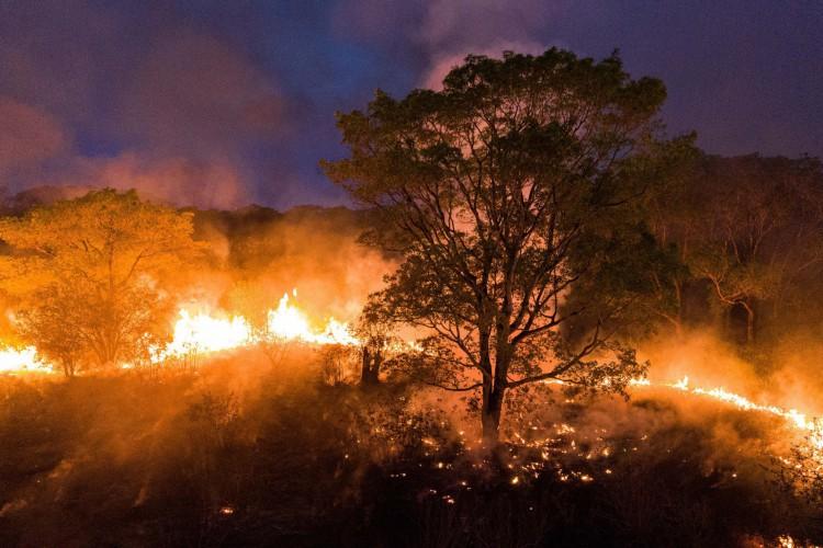 Um helicóptero enviado pela Força Nacional para ajudar a controlar as queimadas no Pantanal caiu na tarde desta quinta-feira, 8, e deixou os três tripulantes feridos.  (Foto:  Ibere PERISSE / Projeto Solos / AFP)