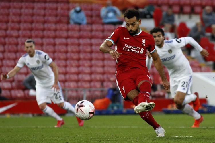 Mohamed Salah foi autor de três gols na vitórias do Liverpool sobre o Leeds (Foto: PHIL NOBLE / POOL / AFP)