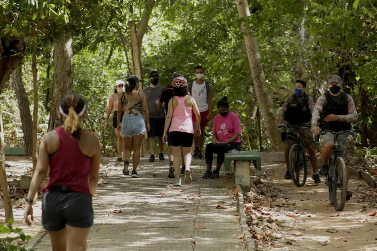 Trilha do Parque do Coco na manhã de 13 de setembro, após flexibilização do isolamento social (Foto: Thais Mesquita)