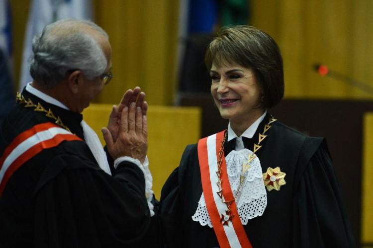 A ministra Cristina Peduzzi,toma posse na presidência do Tribunal Superior do Trabalho (Foto: Fabio Rodrigues Pozzebom/Agência Brasil)