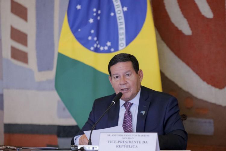 O Vice-Presidente da República, Hamilton Mourão coordena a 2ª Reunião do Conselho Nacional da Amazônia Legal (CNAL). (Foto: Romério Cunha/VPR)