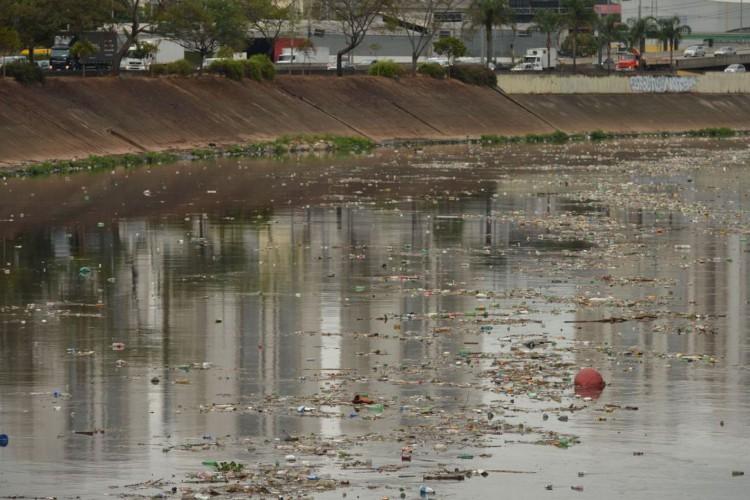 Acúmulo de lixo no rio Tietê, após chuva durante a manhã. (Foto: Rovena Rosa/Agência Brasil)