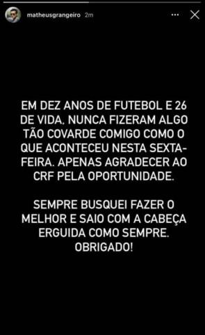 Funcionário do Flamengo é demitido e se pronuncia nas redes sociais