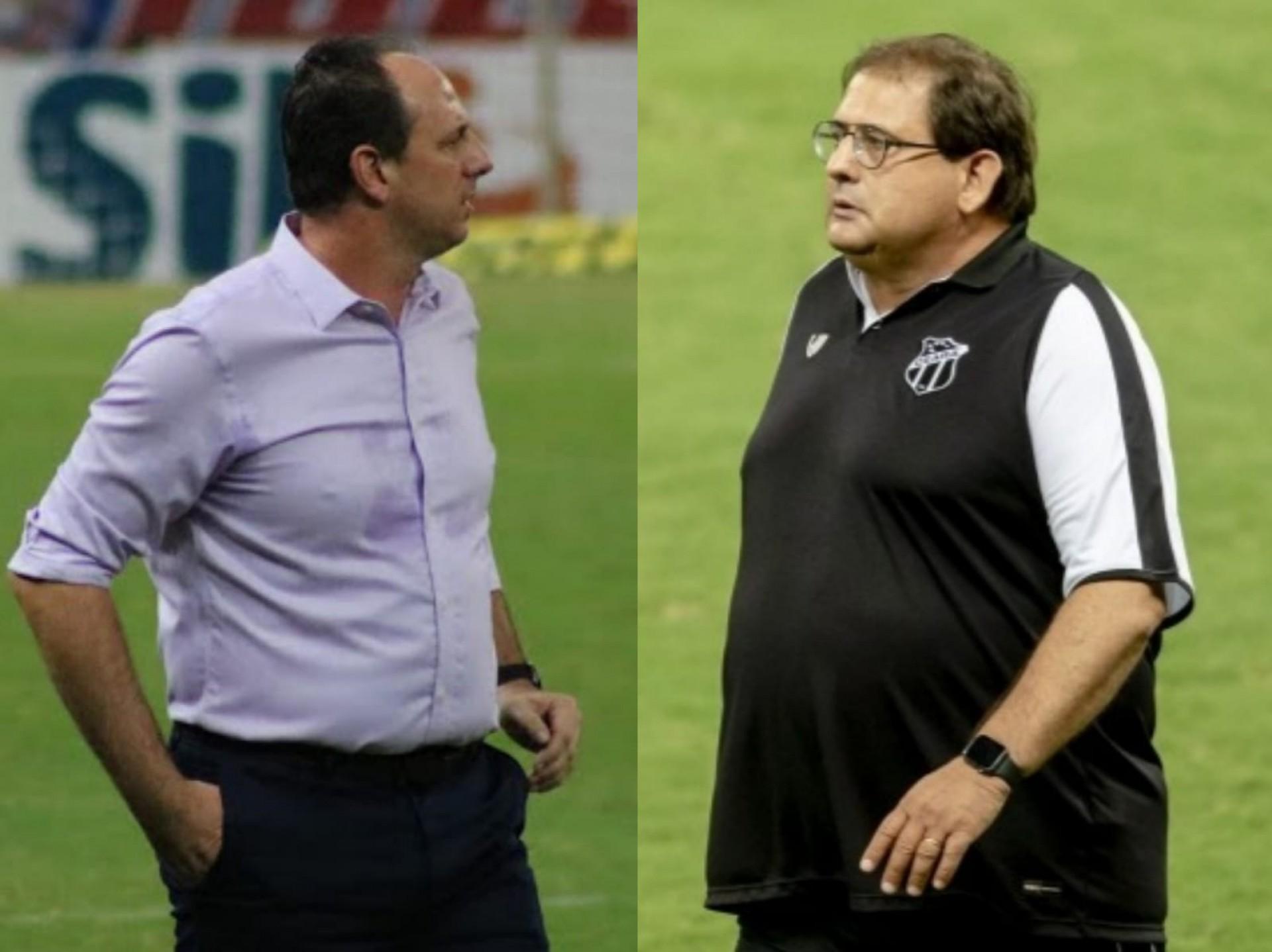 Rogério Ceni, técnico do Fortaleza e Guto Ferreira, treinador do Ceará