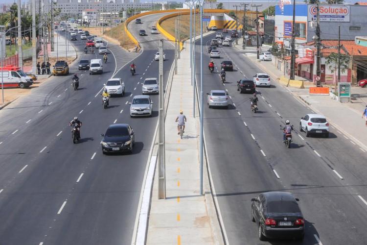 A partir de agora, o viaduto tem oito faixas de tráfego, sendo quatro por sentido (Foto: Divulgação/Prefeitura de Fortaleza)