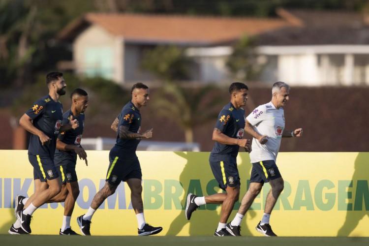 Primeiro treino da Seleção Brasileira na Granja Comary durante a preparação para o jogo contra a Bolívia pela primeira rodada das Eliminatórias da Copa do Mundo 2022. Lucas Figueiredo/CBF (Foto: Lucas Figueiredo/CBF)