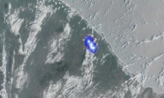 Imagem captada do satélite Geo Estacionário Meteorológico mostra ponto luminoso sobre a Região do Maciço de Baturité.