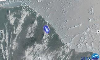 Registro do satélite GOES-16 sobre a suposta queda do elemento espacial.
