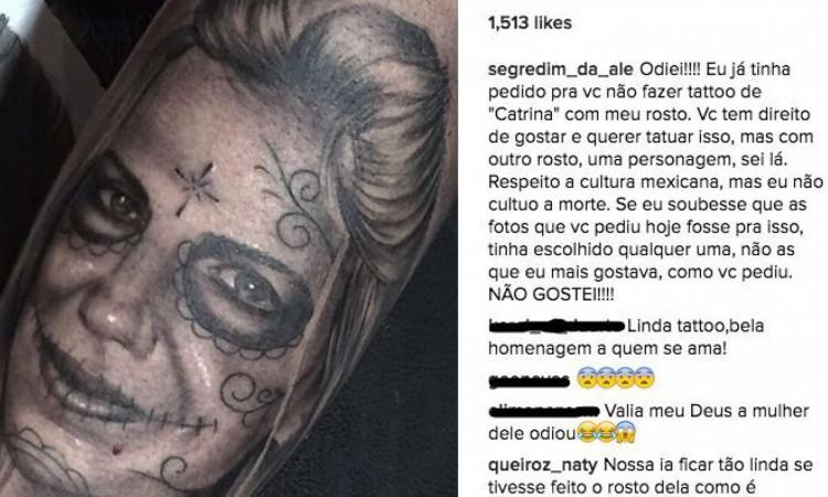 Tom Veiga havia tatuado o rosto da então esposa, que disse publicamente ter odiado a homenagem