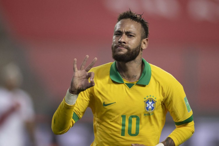 Neymar celebra grande atuação nas Eliminatórias (Foto: Lucas Figueiredo/CBF)