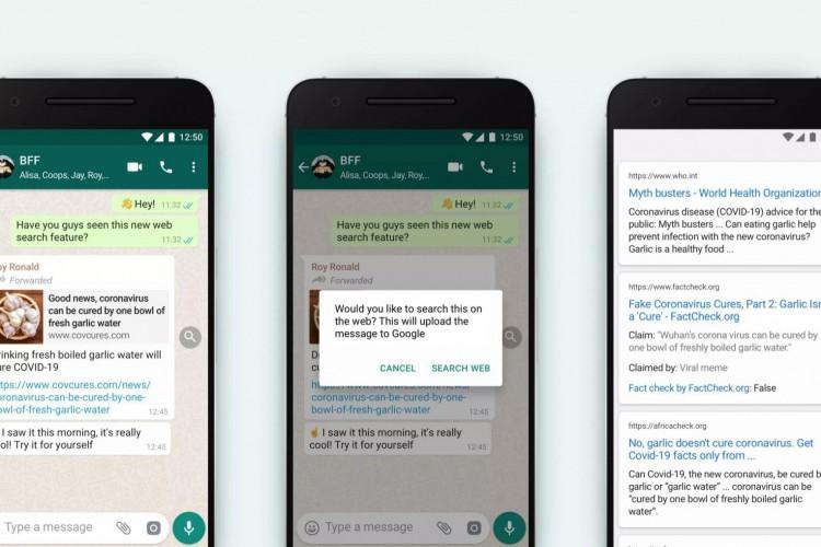 Ferramenta mostrará ícone de lupa em mensagens que foram encaminhadas muitas vezes; clicando no ícone, o usuário poderá pesquisar o conteúdo do texto no Google (Foto: Divulgação/WhatsApp)