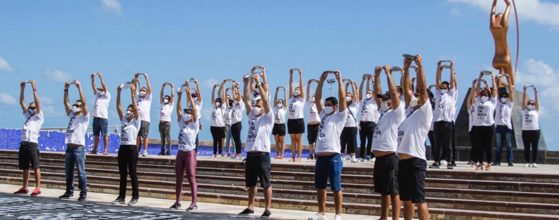 Campanha Natal Sem Fome é lançada na Praia de Iracema, em Fortaleza (Foto: Thaís Mesquita)