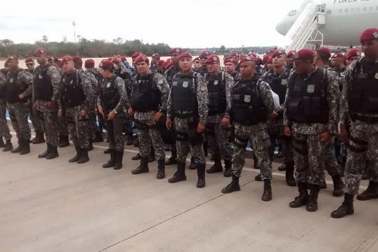 Embarque na Base Aérea de Brasília da Força Nacional de Segurança Pública para Fortaleza. (Foto: FNSP/MJ/Divulgação)
