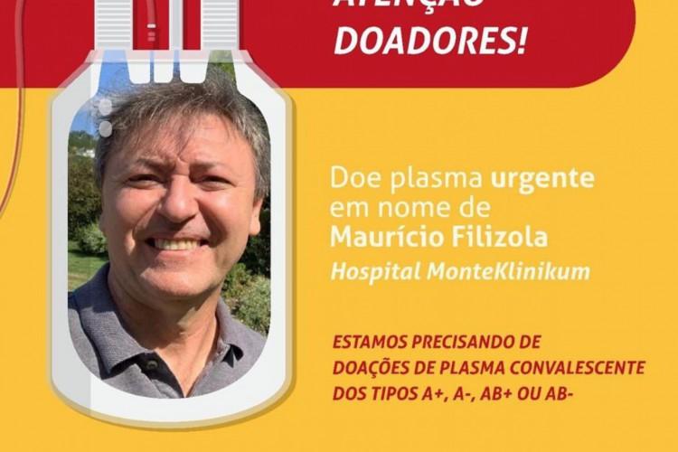 Após campanha, o empresário Maurício Filizola conseguiu a doação de plasma (Foto: DIVULGAÇÃO)