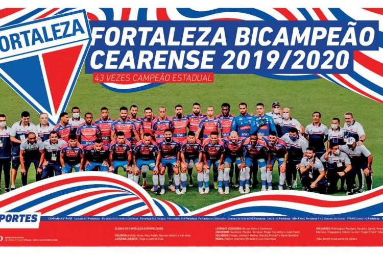 Pôster do Fortaleza, campeão cearense 2020  (Foto: O POVO)