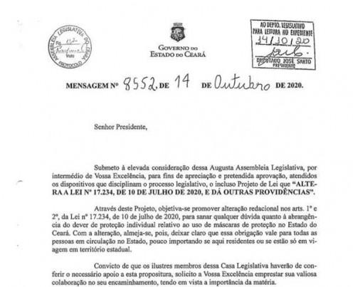 Mensagem do Executivo que propõe alteração nos dois artigos iniciais da lei 17.234/2020, sobre uso obrigatório de máscara