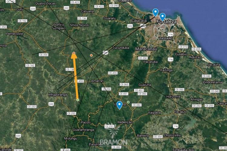 Trajetória do bólido segundo Marcelo Zurita, integrante da BRAMON (Foto: Rede Brasileira de Observação de Meteoros, BRAMON)
