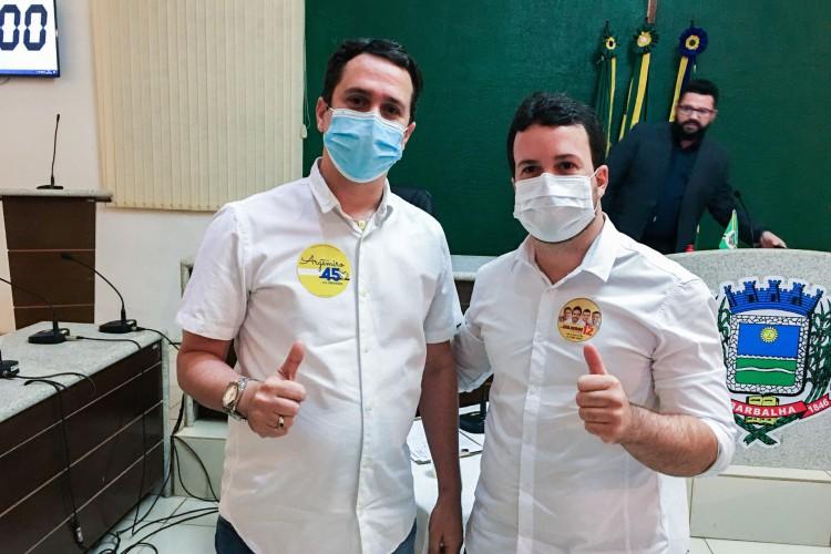 Barbalha, em 29 de outubro de 2020, Candidatos a Prefeitura de Barbalha, Argemiro Sampaio (PSDB) e Guilherme Saraiva (PDT) participaram debate promovido pela Radio CBN Cariri (Foto: LUCIANO CESÁRIO/Rádio CBN Cariri)