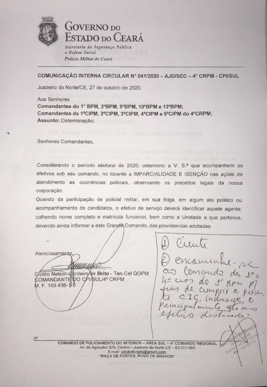 Circular foi encaminhada aos comandos do Interior do Ceará