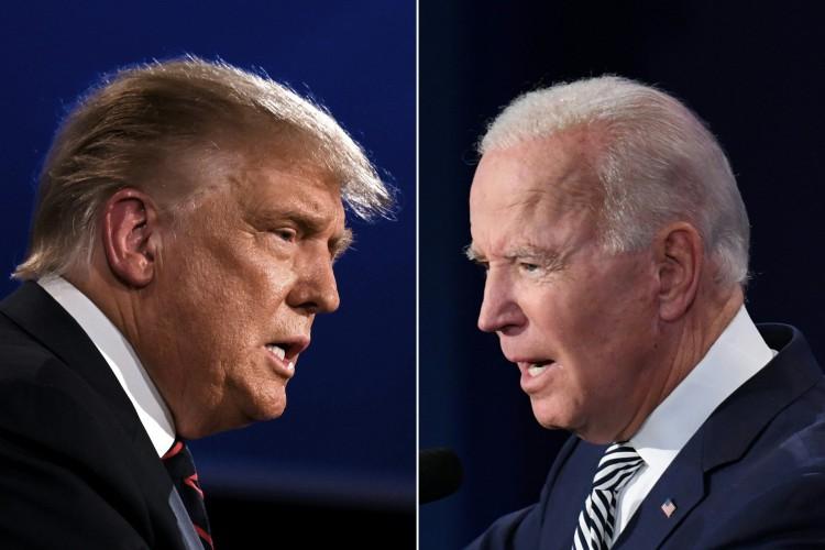 Neste ano, disputam o republicano Donald Trump, que tenta a reeleição, e o democrata Joe Biden, que quer chegar à Casa Branca (Foto: Saul Loeb e Jim Watson/AFP)