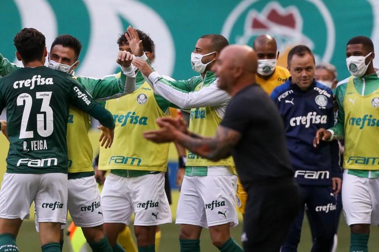 Jogadores do Palmeiras comemoram gol contra o Atlético-MG (Foto: Cesar Greco/Divulgação/Palmeiras)
