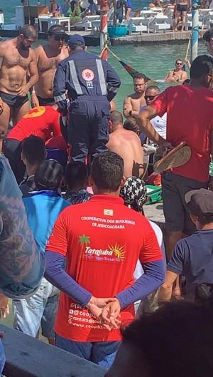 Turista de 24 anos sofreu afogamento na Lagoa do Paraíso, em Jijoca de Jericoacoara, no domingo, 1 (Foto: Foto: Asscom/Corpo de Bombeiros)