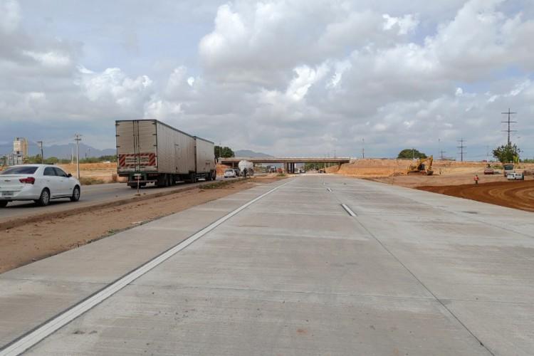 As obras no Anel Viário visam duplicar as faixas da rodovia para melhor fluência de trânsito no local.  (Foto: Divulgação/ SOP)