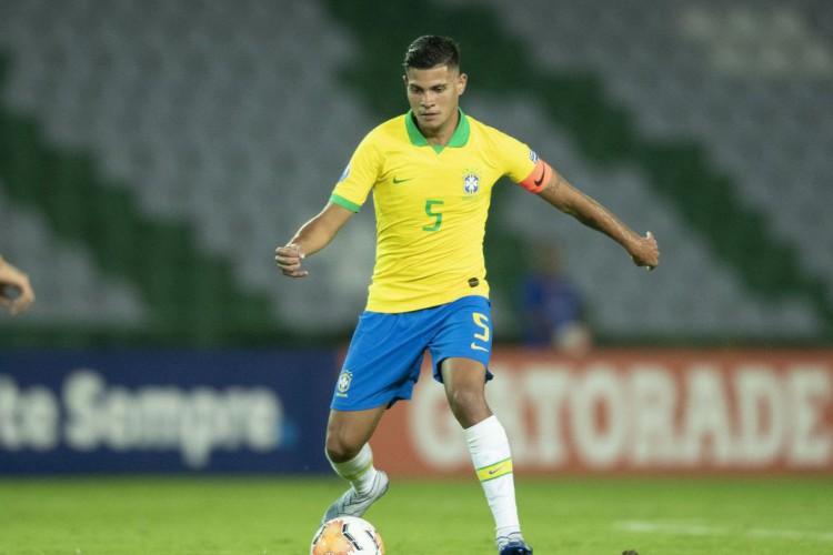 Seleção: Bruno Guimarães, do Lyon, jogando pela seleção brasileira (Foto: Lucas Figueiredo/CBF)