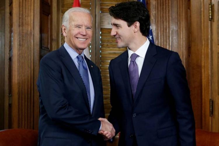 Joe Biden, recém-eleito presidente dos EUA, e o primeiro-ministro do Canadá, Justin Trudeau  (Foto: Foto: Chris Wattie / REUTERS 09.12.2016)