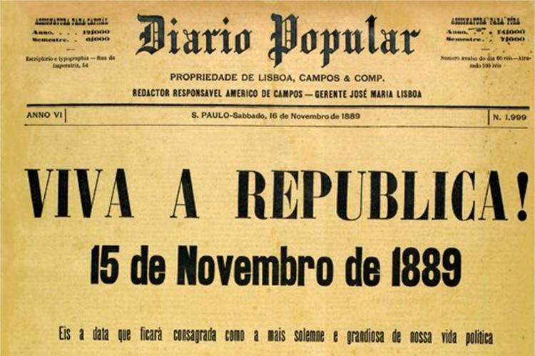 Capa do jornal Diário Popular, de São Paulo, no dia 16 de novembro (Foto: Arquivo Nacional)