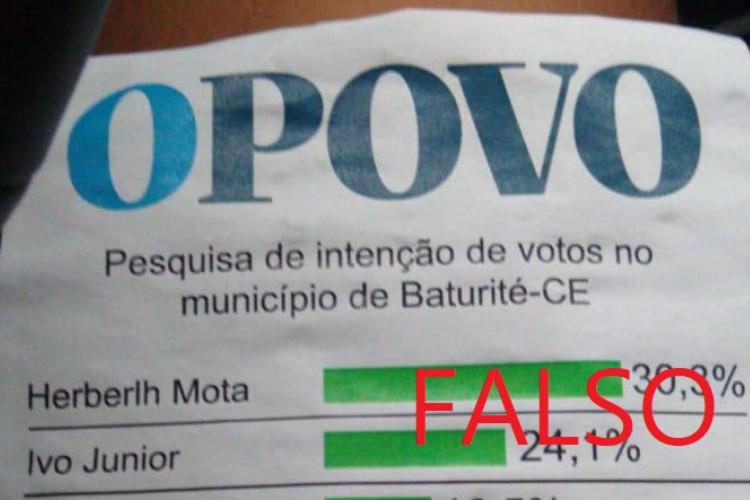 Panfletos sobre pesquisa de intenção de votos em Baturité, atribuídos ao O POVO, são falsos (Foto: Reprodução/Whatsapp)