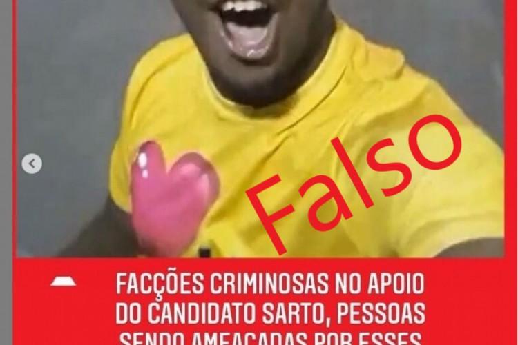 Postagem que acusa falsamente um rapaz de ser integrante de facção em Fortaleza circula pelas redes sociais (Foto: Reprodução)