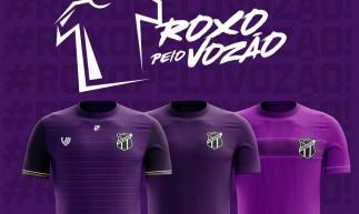Ceará lança campanha Roxo pelo Vozão para torcida escolher modelo do quarto uniforme na cor roxa