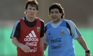 Messi e Maradona na seleção argentina, quando fizeram parceria de jogador e treinador