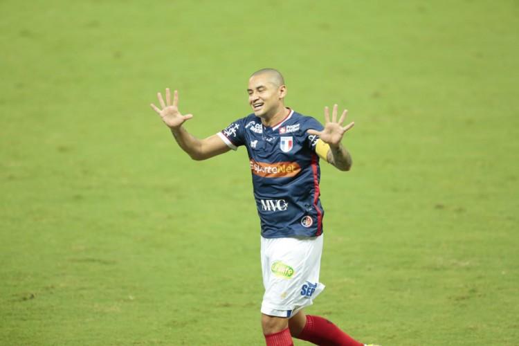 Wellington Paulista, atacante do Fortaleza, chegou ao centésimo gol na história do Brasileirão (Foto: Julio Caesar/O POVO)