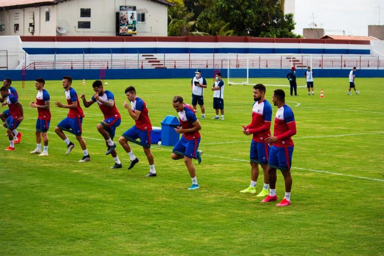 Jogadores do Fortaleza em treino do Fortaleza no Centro de Excelência Alcides Santos, no Pici (Foto: Karim Georges/Fortaleza EC)