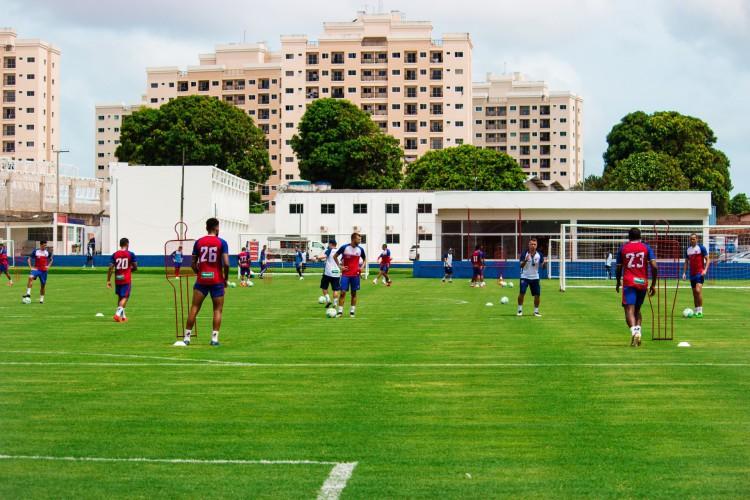 Jogadores do Fortaleza em treino no Centro de Excelência Alcides Santos, no Pici (Foto: Karim Georges/Fortaleza EC)