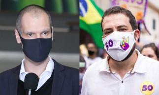 Da esquerda para a direita, Bruno Covas (PSDB) e Guilherme Boulos (Psol), que disputam o 2º turno nas eleições 2020.