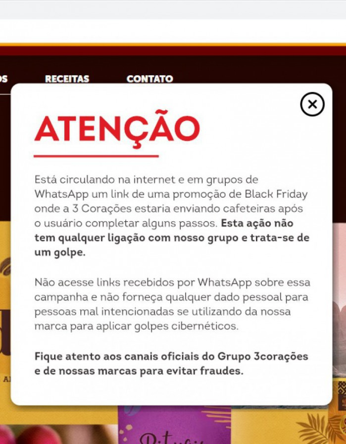 A mensagem de alerta contra o golpe aparece na tela quando o site da empresa 3 Corações é aberto