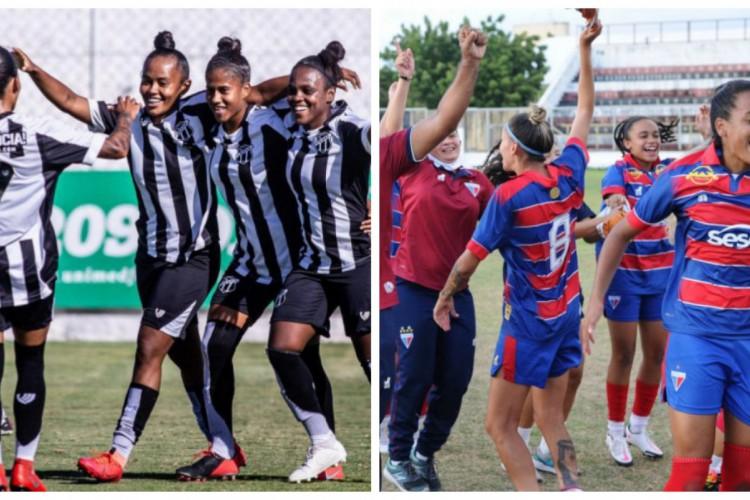 Trabalhos dos times femininos cearenses vêm sendo coroados  (Foto: Pedro Chaves/Cearasc.com e Samuel Andrade/Fortaleza EC)